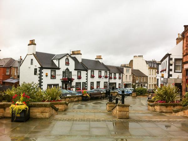 Melrose-Stadtkern-Stadtmitte-schottisches-Grenzland